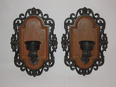 Vintage Pair Of Syroco Faux Wood Wall Candle Holders Made in USA