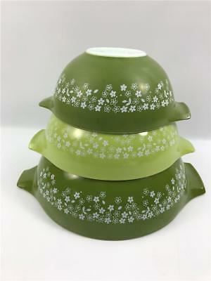 Vintage Lot of 3 Pyrex Green Spring Blossom Crazy Daisy Mixing Nesting Bowls