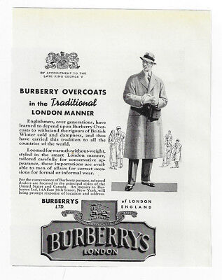 1938 Vintage print ad 30's BURBERRY'S london men's fashion style illustration