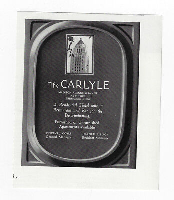 1938 Vintage print ad 30's THE CARLYLE new york city hotel madison avenue