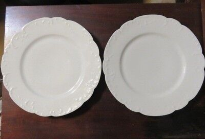 "2 Antique Haviland Limoges France Marseille Dinner Plates 9 5/8"" White"