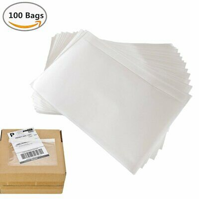 100x 7.5x5.5 Clear Packing Invoice Pouches Envelopes Adhesive Shipping Label