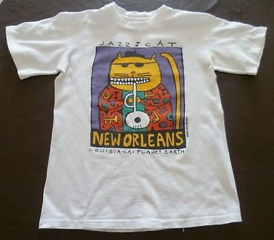 90's Vintage New Orleans Jazz Cat Tee Shirt Looziana Big Hed Cotton Size S