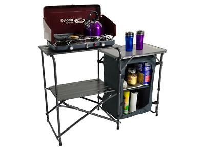 New Outdoor Connection Stove Stand With Side Table Pantry Portable Folding Table
