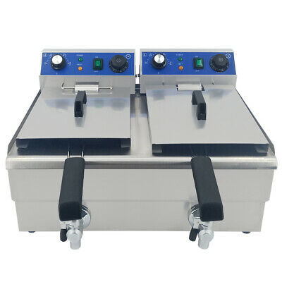 2x10L Electric Deep Fryers Stainless Steel Commercial Twin Tank Fat Chip Fryer
