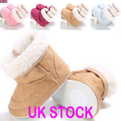 Newborn Baby Booties Girl Crib Pram Shoes Winter Fur Non-Slipping Snow Boots UK