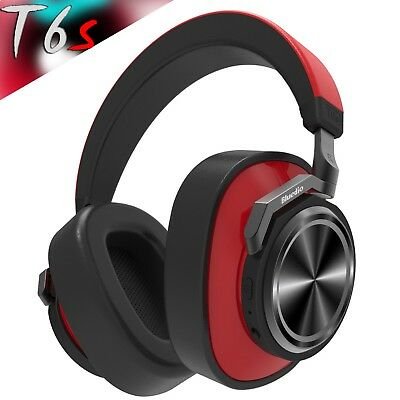Bluedio T6s Bluetooth 5.0 Cordless Headphones Stereo ANC, Wireless Red Headset