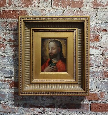 19th century Portrait of Jesus -Spanish colonial-Oil painting c1860s