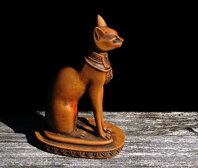 Vintage Bastet Egyptian Cat Goddess Statue Antique Petrified Wood Color Finish