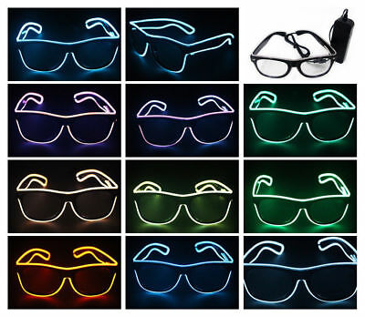 LED Light Up Shutter Shaped Glasses EI wire Party Leuchtbrille F. Rave Costume