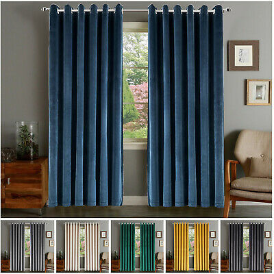 Thermal Blackout Curtains Eyelet Ring Top Ready Made Grey Curtain Free Tie Backs