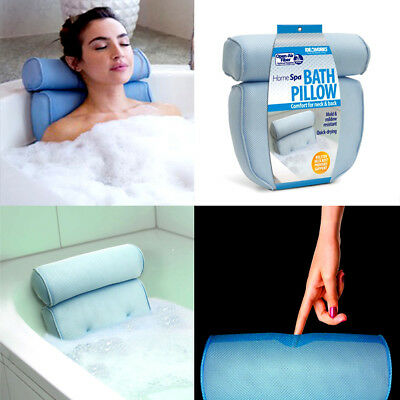 Home Spa Bath Pillow Luxury Blue Spongy Cushion Tub Head Neck Rest Relaxing Aid