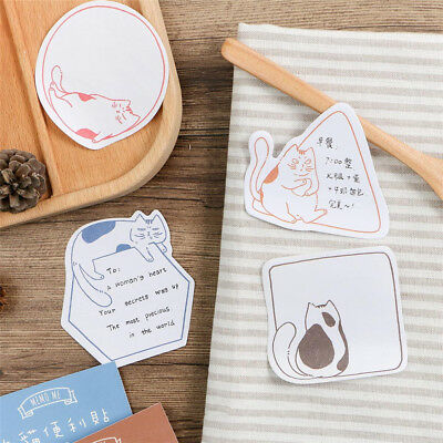 30pcs Cute Cartoon Cat Memo Pad Sticky Notes Planner Paper Sticker Message Note