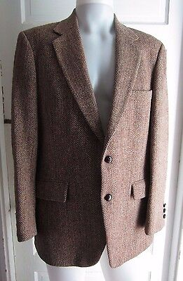Vintage Harris Tweed Giacca Marrone Lana a Spina di Pesce Sport Cappotto  Uomo 42 10932631ae0