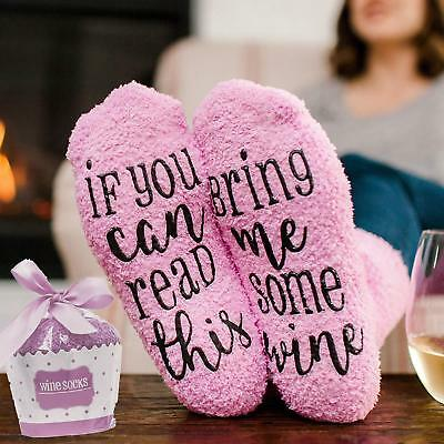 Womens Thermal Novelty Funny Socks If You Can Read This Bring Me Wine 6-11 ty
