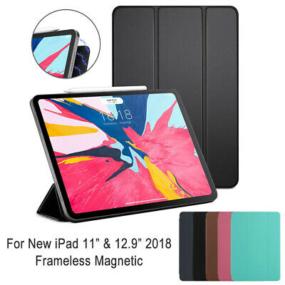 "2018 Magnetic Smart Leather Case Cover + Pencil Charging For iPad Pro 11"" 12.9"""