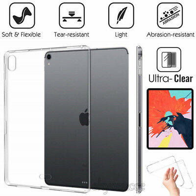 """For Apple iPad Pro 11""""12.9"""" inch 2018 Crystal TPU Clear Soft Silicone Case Cover"""