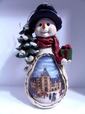Biltmore Estate Christmas Ornament 3D Snowman Scene Inside Beautiful NC