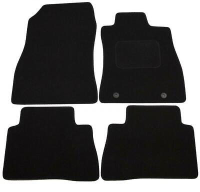 Tailored Black Car Floor Mats Carpets 4pc Set with Clips for Nissan Qashqai