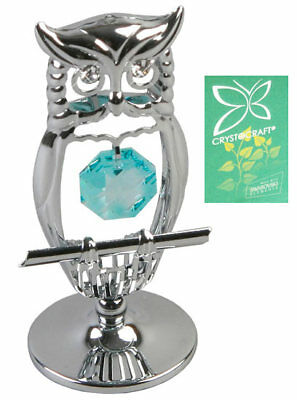 Collectable Keepsake Crystocraft Crystal Gift Silver Owl Swarovski Elements