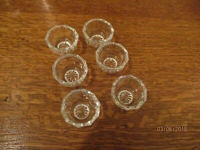 Set 6 Vintage Westmoreland Crystal Plain Paneled Glass Open Salt Cellar Dips