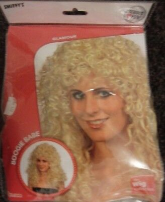 1 x Boogie Babe Wig Blonde Long Curly 80s Ladies Fancy Dress Outfit
