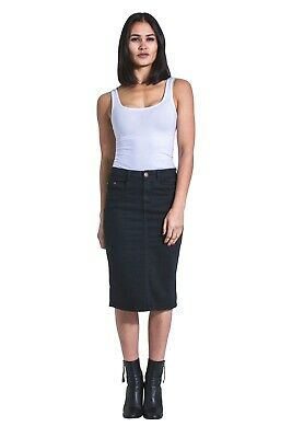 8e4199f7f2 USKEES KAY Mid-length Denim Skirt - Black Denim Pencil Skirt with stretch
