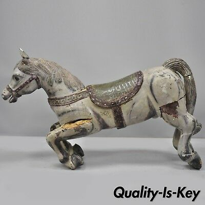 """Antique Solid Wood Carved and Painted Carousel Style Horse 48"""" Long"""