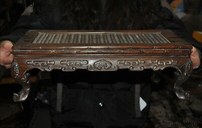 """16""""Old Chinese Huanghuali Wood Hand Carved""""福""""Text Bat Ancient Tables Book Desk"""