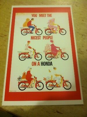 Honda You Meet The Nicest People On A Honda Poster 1960s Home Decor Gift