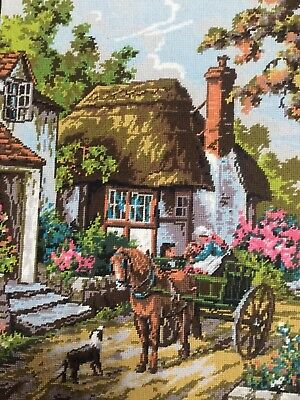 Fab Vtg Completed Needlepoint Tapestry, Edward Williams Country Cottage Flowers