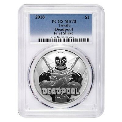 2018 1 oz Tuvalu Deadpool Marvel Series Silver PCGS MS 70 FS