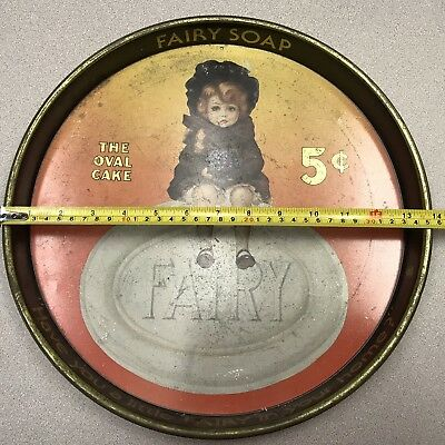 "Vintage Large ~ 14"" FAIRY SOAP TIN TRAY By CHEINCO . The Oval Cake 5 Cents"