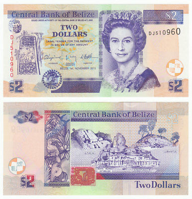 BELIZE 2 Dollars 2011 P-66d Queen Elizabeth QE II UNC Uncirculated