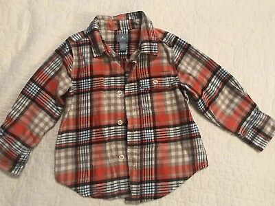 Baby Gap Toddler Boy Orange/Blue Button Up Flannel Shirt 2T