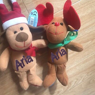 PERSONALISED TEDDY BEAR BROWN / WHITE CHRISTMAS RUDOLF SANTS YOUR NAMe GIFTS