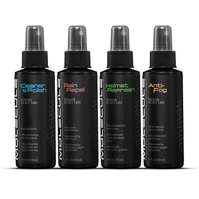 Molecule Helmet Care Kit (Anti-Fog Helmet Refresh Cleaner & Polish Rain Repel)