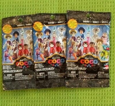 3 Disney Pixar Coco The Movie Skullectables Blind Bag Mystery Packs Sealed New