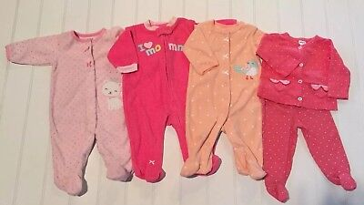 Lot Of Carters 3 Month Girls Clothes Sleepers And 2 Pc Outfit