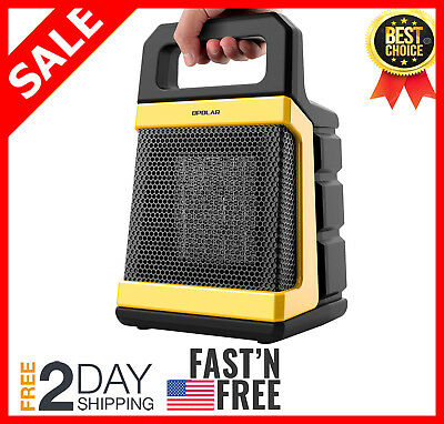 1500W Ceramic Space Heater with Adjustable Thermostat, Powerful and Portable