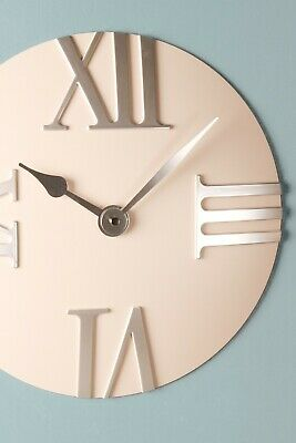Roman Numeral Wall Clock Pale Blue Dark Minimalist Quartz Kitchen Modern Vintage