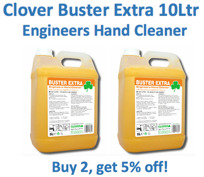 Clover Buster Extra 10Ltr Engineers Hand Cleaner Beaded Scrub Gel Bitty Soap 2x5