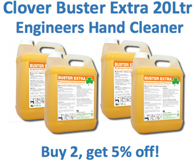 Clover Buster Extra 20Ltr Engineers Hand Cleaner Beaded Scrub Gel Bitty Soap 4x5