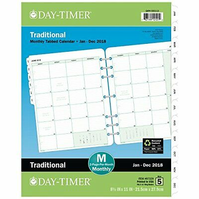 """Day-Timer 2019 Planner Refill, 8-1/2"""" x 11"""", Folio Size 5, Two Pages Per Month,"""