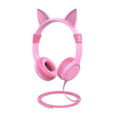 iClever BoostCare Kids Headphones, Wired Over Ear Headphones with Cat Ears, 85dB