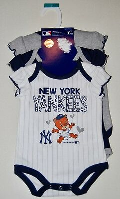 NWT MLB NY Yankees Infant Girls Navy Blue Gray 3pc SS Romper Set Sz