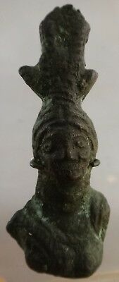 """Ancient  Holy Land Roman Bronze Bust of Minerva, c 1st-3rd  cent.  2 3/8"""" t."""