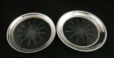 Pr. Sterling Silver Rim Coasters w/Star Cut Glass Bottom, 1st ½ 20th cent