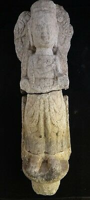 "Rare Ancient Chinese carved stone Bodisatva.Wei or Sui dyn. 4th -7th AD.18"" tall"