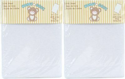 Honey Baby Solid White Toddler Bed or Crib Sheets 2-Pack (100% Cotton)